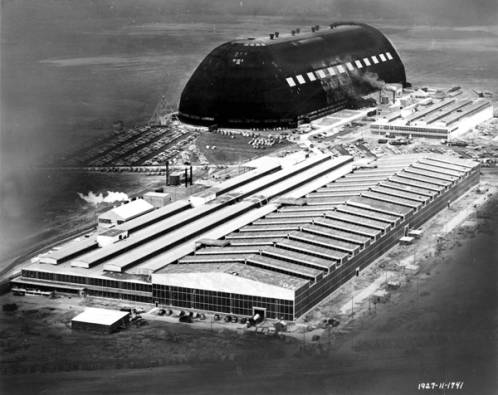 Aerial view of the Goodyear Aircraft factory, taken in 1941