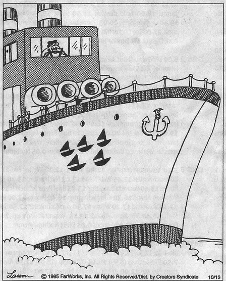 Gary Larson Ship chasing down other ships