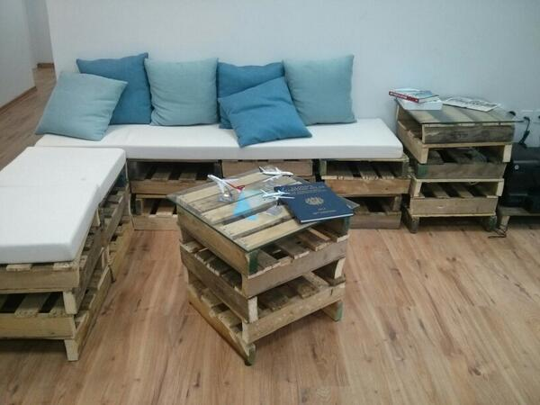 We love our pallet couches and coffee table!
