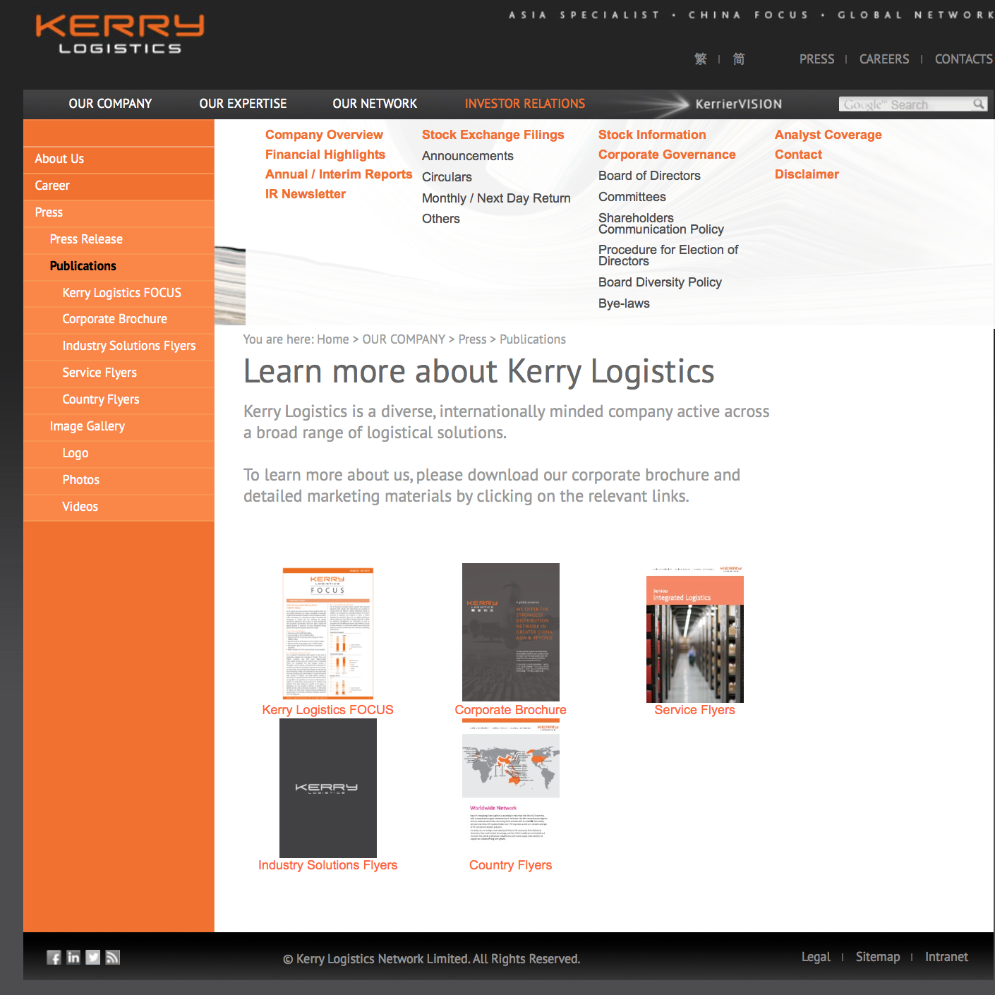 Downloadable resources on the Kerry Logistics homepage