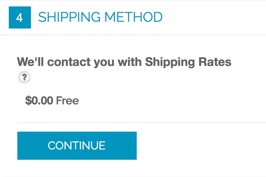 """We'll Contact You With Shipping Rates"" message"