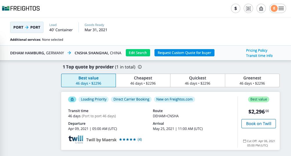 Twill in Freightos Platform
